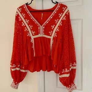 Free People lace/embroidery blouse